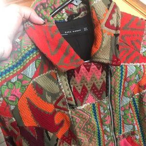 NWT Zara patchwork embroidered biker jacket size M